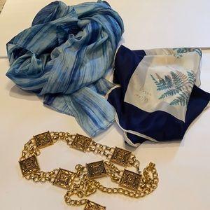 Vintage gold chain link belt and 2 silk scarves